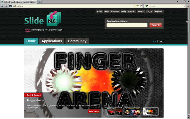 Finger Arena featured on SlideMe.org